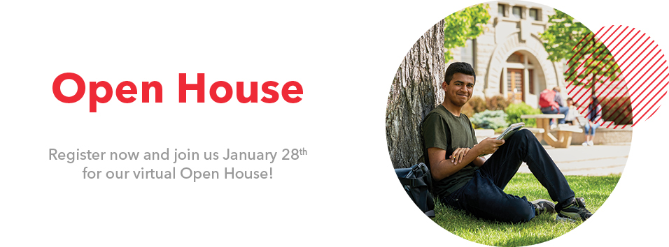 "Student on the front lawn with text ""Open House - Register now and join us January 28th for our virtual Open House!"