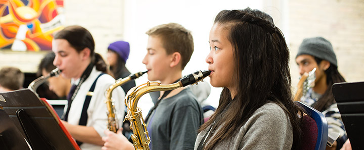 Student playing saxaphone